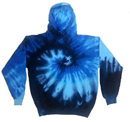 12 Bulk Pull Over Hoody Blue Ocean Tie Dye With Fleece Lining
