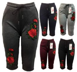12 Bulk Rose Flower Legging Assorted Colors Capris Pants