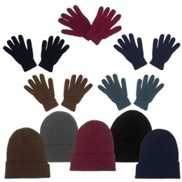 96 Bulk Unisex Winter Beanie, Gloves In 5 Assorted Colors