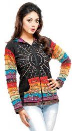 5 Bulk Nepal Handmade Cotton Jackets With Hood Rainbow Sequins