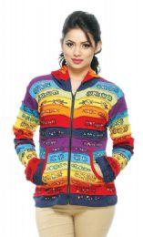 5 Bulk Nepal Handmade Cotton Jacket With Rainbow Stripes