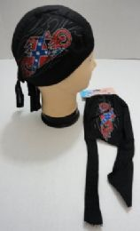 72 Bulk Skull Caps Motorcycle Hats Fabric Rebel Flag Bike Print