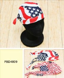 72 Bulk Skull Caps Motorcycle Hats Fabric American Flag Print