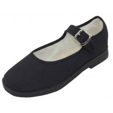 36 Bulk Girl's Cotton Upper Mary Janes Canvas Shoe Black Color Only