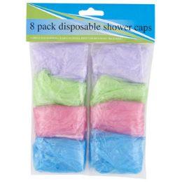 72 Bulk Shower Cap 8pk Disposable 4 Colors