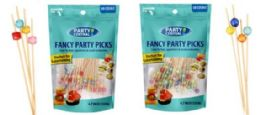 48 Bulk Fancy Party Picks 50 Count Mixed Cube Color Tops