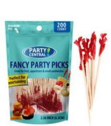 48 Bulk Fancy Party Picks 200ct Red Tops
