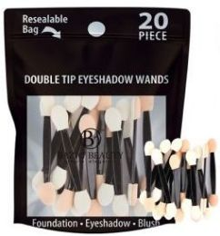 96 Bulk Double Tip Eye Shadow Wands 20 Count Resealable Bag