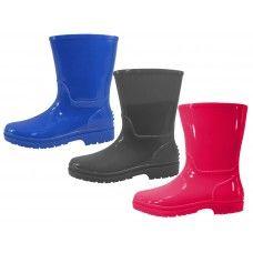 24 Bulk Children's Water Proof Plain Rubber Rain Boots