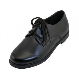 24 Bulk Youth's Black School Shoes With Lace Upper