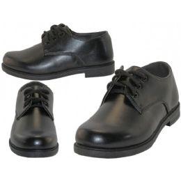 24 Bulk Big Boy's Black Lace Up School Shoe