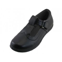 24 Bulk Big Girl's T-Velcro With Buckle Upper Black School Shoe