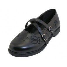 24 Bulk Big Girls X-Strip Top Black School Shoe