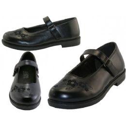 24 Bulk Big Girl's Mary Janes Black School Shoe