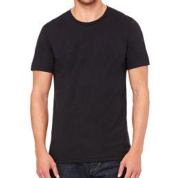 6 Bulk Mens Cotton Crew Neck Short Sleeve T-Shirts Black, Large