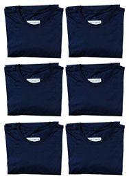 6 Bulk Mens Cotton Crew Neck Short Sleeve T-Shirts Navy, Medium