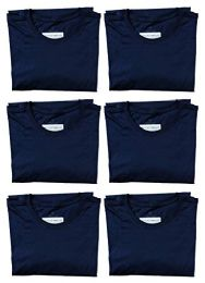 6 Bulk Mens Cotton Crew Neck Short Sleeve T-Shirts Navy, X-Large