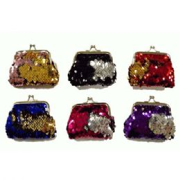 48 Bulk Reversible Sequins Snap On Coin Purse