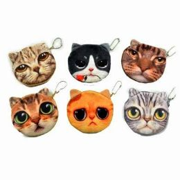 48 Bulk Cat Face Coin Purse