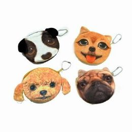 48 Bulk Assorted Dog Face Coin Purse