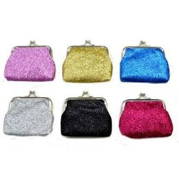 48 Bulk Glitter Snap On Coin Purse