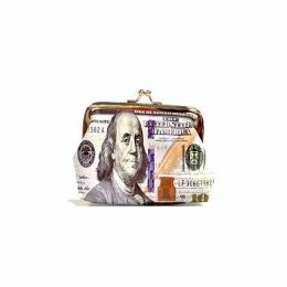 48 Bulk Dollar Print Snap On Coin Purse