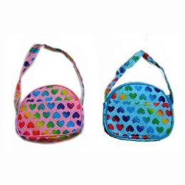 48 Bulk Rainbow Hearts Shoulder Purse