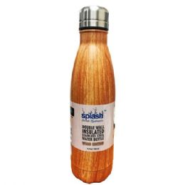 24 Bulk Stainless Steel Double Walled Wood Edition Water Bottle Cup