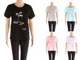 48 Bulk Womens Rhinestone Shoe Print Tee Shirt