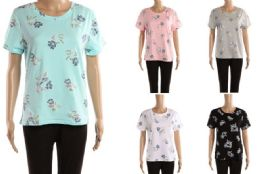 48 Bulk Womens Floral Print Tee Shirt Assorted Colors