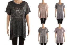 48 Bulk Womens Long Tunic Tee Paris Print Assorted Color