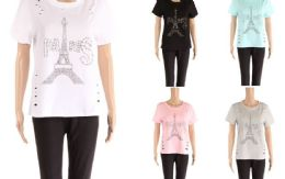48 Bulk Womens Tee Paris Print Assorted Color