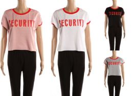 48 Bulk Womens Tee Security Print Assorted Colors