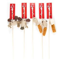 70 Bulk Cat Toy Wooden Wand With Bell