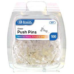 144 Bulk Bazic Clear Transparent Push Pins