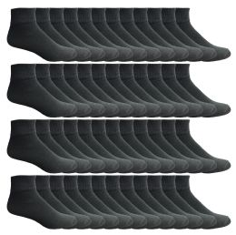 24 Bulk Yacht & Smith Men's Cotton Sport Ankle Socks With Terry Size 10-13 Solid Black