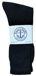 24 Bulk Yacht & Smith Men's King Size Cotton Terry Cushioned Crew Socks Black Size 13-16 Bulk Pack