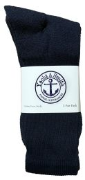 24 Bulk Yacht & Smith Men's King Size Cotton Terry Cushioned Crew Socks Navy Size 13-16 Bulk Pack