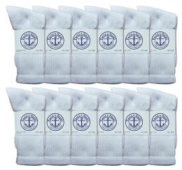 36 Bulk Yacht & Smith Women's Cotton Crew Socks White Size 9-11