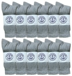 36 Bulk Yacht & Smith Women's Cotton Crew Socks Gray Size 9-11 Bulk Pack