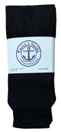 36 Bulk Yacht & Smith Women's Cotton Tube Socks, Referee Style, Size 9-15 Solid Black 28inch