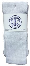 36 Bulk Yacht & Smith Women's Cotton Tube Socks, Referee Style, Size 9-15 Solid White Bulk Pack