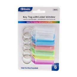 72 Bulk Bazic Key Tags With Holder & Label Window (6/pack)