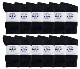 24 Bulk Yacht & Smith Kids Cotton Terry Cushioned Crew Socks Black Size 6-8 Bulk Pack