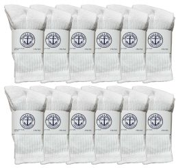 24 Bulk Yacht & Smith Kids Cotton Terry Cushioned Crew Socks White Size 6-8 Bulk Pack