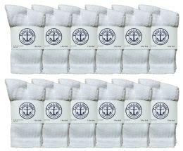 60 Bulk Yacht & Smith Kids Cotton Crew Socks White Size 4-6 Bulk Pack