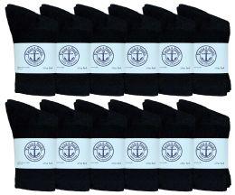 60 Bulk Yacht & Smith Kids Cotton Crew Socks Black Size 4-6 Bulk Pack