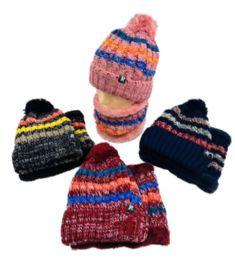 24 Bulk PlusH-Lined Pompom Knit Hat/neck Warmer Combo [stripes] Two Piece Set