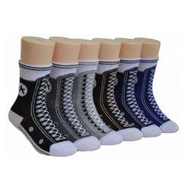 480 Bulk Boys Sneaker Print Crew Socks