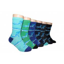 480 Bulk Boys Shark Print Crew Socks